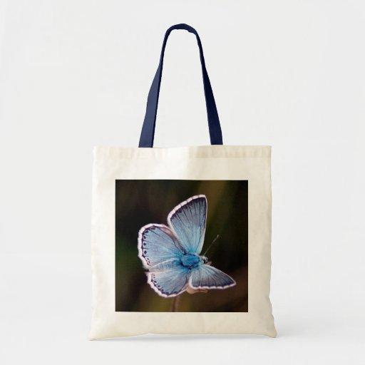 Sacola azul pequena da borboleta bolsa para compras
