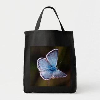 Sacola azul pequena do mantimento da borboleta bolsas de lona