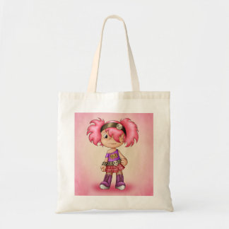 Sacola bonito com a menina dos desenhos animados d bolsa para compra