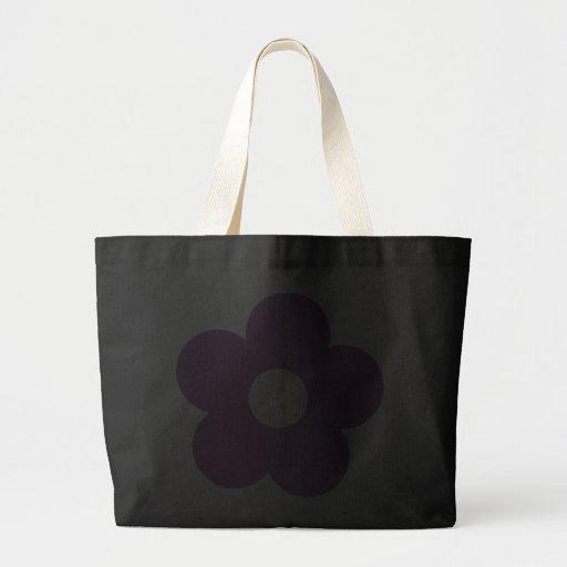 Sacola bonito do preto da flor dos desenhos animad bolsa para compras