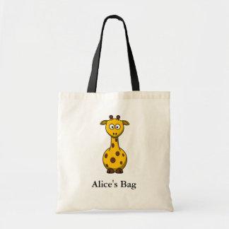 Sacola bonito personalizada do girafa dos desenhos bolsa para compras