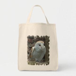 Sacola branca do mantimento da coruja de celeiro bolsa para compra