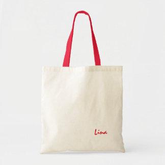 Sacola branca vermelha para Lina Sacola Tote Budget