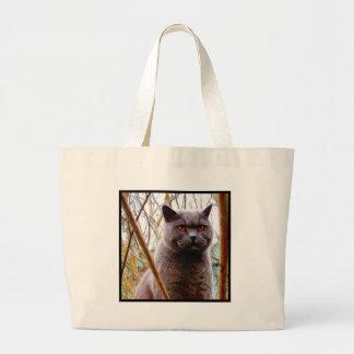 Sacola britânica do gato azul bolsas de lona