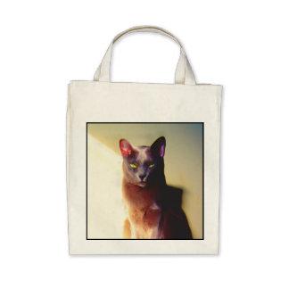 Sacola cinzenta do gato bolsas para compras