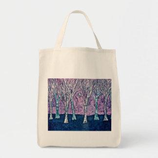 Sacola com as árvores no inverno bolsa tote