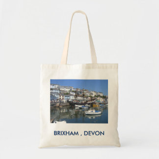 Sacola com imagem do porto de Brixham Bolsa Tote