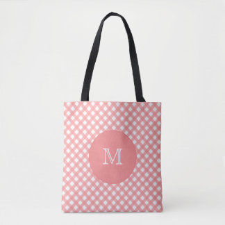 Sacola cor-de-rosa coral do monograma do impressão bolsa tote
