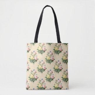 Sacola cor-de-rosa do teste padrão de flor do bolsa tote