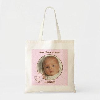 Sacola da foto do bebê do pintinho do guingão bolsa para compras