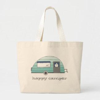 Sacola de acampamento do campista feliz bolsa tote grande