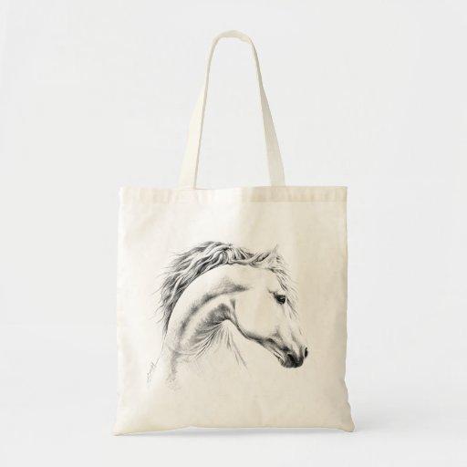 Sacola do desenho de lápis do retrato do cavalo bolsa de lona