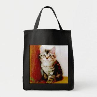Sacola do gatinho do gato malhado sacola tote de mercado