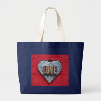 sacola do jumbo do amor do coração da lata bolsa de lona