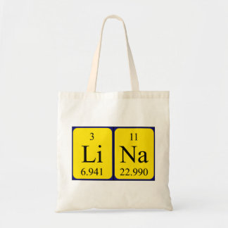 Sacola do nome da mesa periódica de Lina Sacola Tote Budget