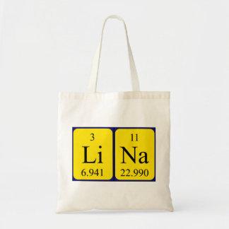 Sacola do nome da mesa periódica de Lina Bolsa Tote