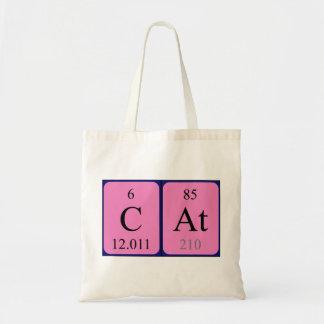 Sacola do nome da mesa periódica do gato sacola tote budget