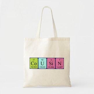 Sacola do nome da mesa periódica do primo bolsa para compra