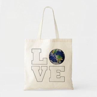 Sacola do orçamento da terra do planeta do amor bolsa tote