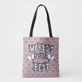 Sacola do texto da tipografia da irmã do mundo a bolsa tote