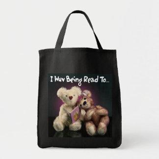 Sacola do ursinho da leitura bolsa para compra