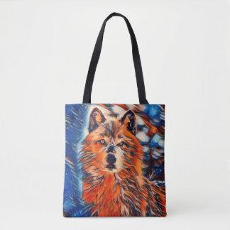 Sacola dos animais selvagens do lobo vermelho bolsa tote