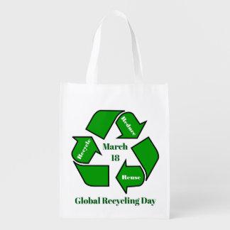 Sacola Ecológica 18 de março, design global do dia do reciclagem