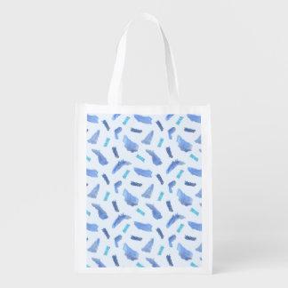 Sacola Ecológica A aguarela azul mancha o saco reusável