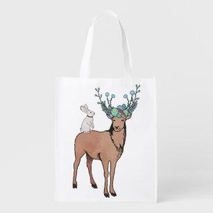Sacola Ecológica A bolsa de compra dos cervos e do coelho