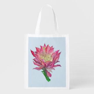 Sacola Ecológica A bolsa de compra reusável da flor da aguarela
