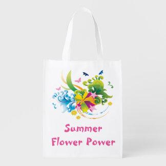 Sacola Ecológica A bolsa de compra reusável de flower power do