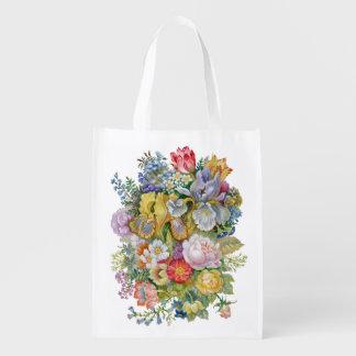 Sacola Ecológica A bolsa de compra reusável do buquê da flor