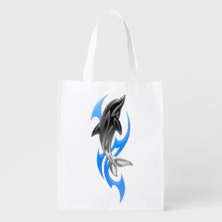 Sacola Ecológica A bolsa de compra reusável do golfinho tribal