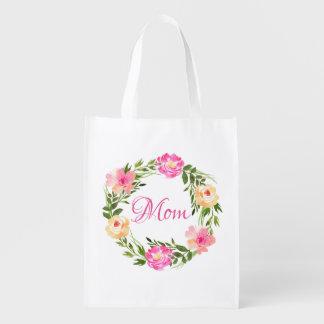 Sacola Ecológica Aguarela personalizada floral feminino da mamã