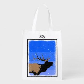 Sacola Ecológica Alces de Bugling no inverno - arte original dos