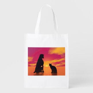 Sacola Ecológica Amizade do cão e gato no por do sol