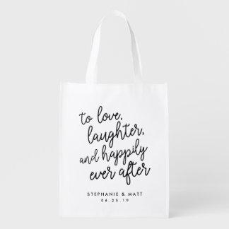 Sacola Ecológica Amor, riso & feliz nunca após o favor Wedding