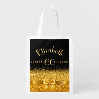 Sacola Ecológica arco de brilho elegante do ouro do 60th