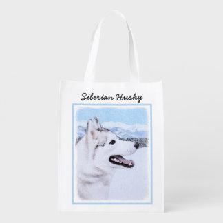 Sacola Ecológica Arte do cão da pintura do rouco Siberian (prata e