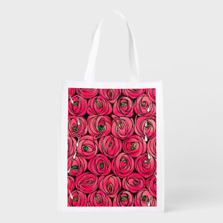 Sacola Ecológica Arte floral Nouveau do vintage dos rosas