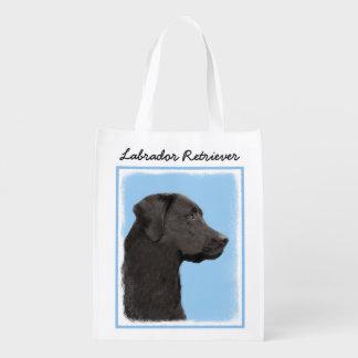 Sacola Ecológica Arte original do cão da pintura preta de labrador