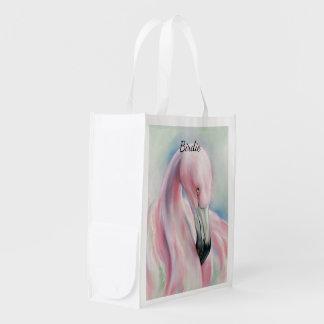 Sacola Ecológica Arte Pastel do flamingo cor-de-rosa personalizada
