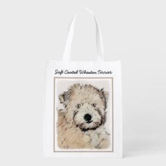 Sacola Ecológica Arte Wheaten Macio-Revestida do cão da pintura do