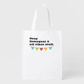 Sacola Ecológica As bolsas de compra reusáveis com etiqueta - sabão