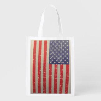 Sacola Ecológica Bandeira americana resistida, afligida dos EUA