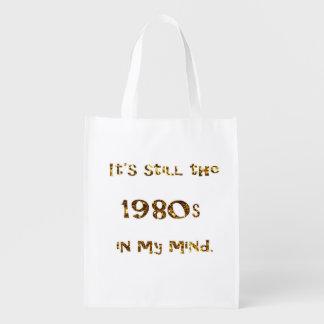 Sacola Ecológica brilho do ouro da nostalgia dos anos 80 frente e