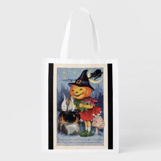 Sacola Ecológica Bruxa da abóbora do Dia das Bruxas do vintage