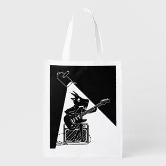 Sacola Ecológica Cabra preto e branco que joga a guitarra
