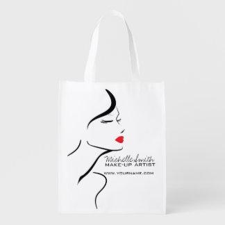 Sacola Ecológica Cara da mulher do ícone da composição nos lábios