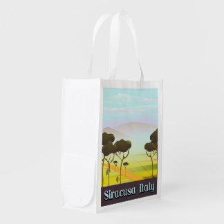 Sacola Ecológica Cartaz do viagem da paisagem de Siracusa Italia